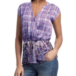 CABI | EVA PURPLE PLAID & FLORAL BLOUSE